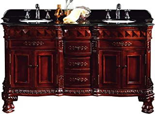 Ove Decors Buckingham DBL-VB Double Vanity with Granite Countertop and Ceramic Double Basins, 60-1/5-Inch Wide, Dark Cherry