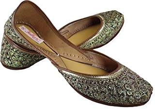 Fulkari Women's Soft Leather Bite and Pinch Free Sparkle Embroidered Comfortable Jutis Ethnic Flat Shoe