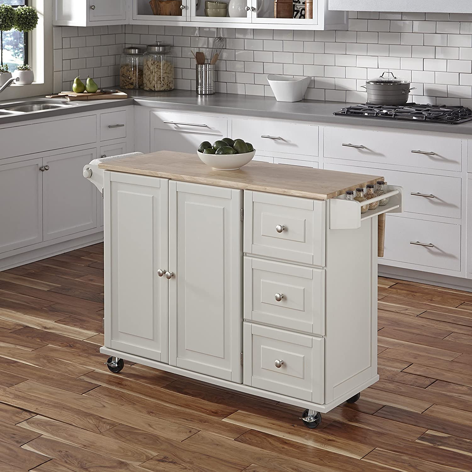 Amazon Com Home Styles Liberty Kitchen Cart With Wood Top White Kitchen Islands Carts