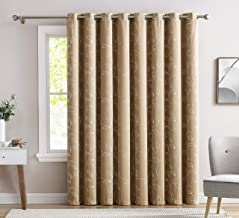 """HLC.ME Carol Floral Embroidered Thermal Room Darkening Blackout Window Curtain Grommet Panels for Sliding Glass Patio Doors - Energy Efficient & Extra Wide - (100"""" W x 84"""" L, Taupe/Ivory)"""