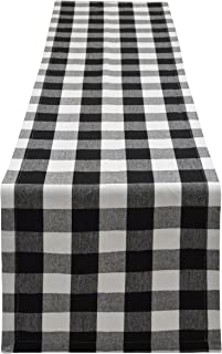Best Yourtablecloth Buffalo Plaid Checkered Table Runner Trendy & Modern Plaid Design 100% Cotton Tablerunner Elegant Décor for Indoor&Outdoor Events 14 x 72 Black and White Review