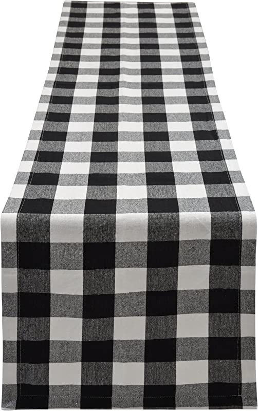 Yourtablecloth Buffalo Plaid Checkered Table Runner Trendy Modern Plaid Design 100 Cotton Tablerunner Elegant D Cor For Indoor Outdoor Events 14 X 108 Black And White