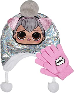L.O.L Surprise Reversible Silver Magic Sequin Laplander Hat with Pom-Pom & Glove Set 2 Pieces Winter Accessories Set for Girls Pink