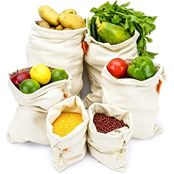 Bodaon Cotton Reusable Grocery Produce Bags Set of 6 Pack Washable Eco Friendly Bags With Drawstring , Zero Waste, Canvas Muslin , Bread Potato Onion Rice Storage, Root Vegetable Keeper Holder, Fresh