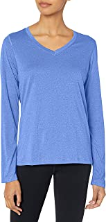 (awesomeblueheather, l) - Hanes Sport Women's CoolDri Performance Long-Sleeve V-Neck Tee