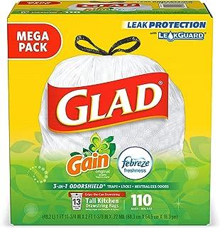 Glad Tall Kitchen Drawstring Trash Bags - Odorshield 13 Gallon, Gain Original with Febreze Freshness, 110Count