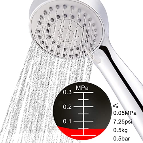 HOMEWELL High Pressure Handheld Shower Head Set- 3 Functions Rain Powerful Flow- w/ 79'' Stainless Steel Hose (Cost Free)- Luxury Chrome