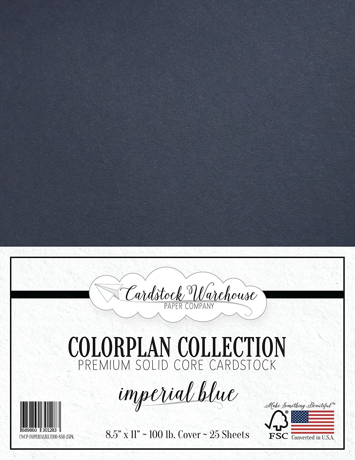 Imperial Blue/Dark Blue Cardstock Paper - 8.5 x 11 inch Premium 100 lb. Cover - 25 Sheets from Cardstock Warehouse