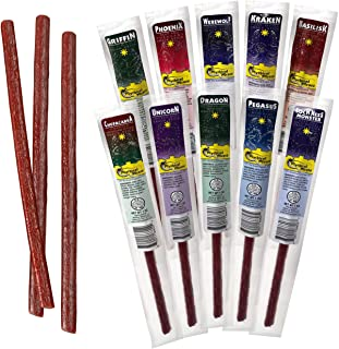 Exotic Meat Snack Sticks by Mythical Meats - Snack Pack of 10 Exotic Game Beef Stick Meats - Beef Sticks Individually Wrapped, Low Sugar, High Protein Keto Snack - Individual Jerky Gift Idea