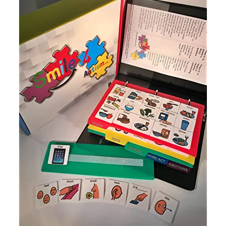 Smile4Autism English Plastic Cartoon Communication Picture Book- 156 Color Picture Cards (Black Binder)