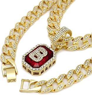 14K Gold Finish Octagon Red Ruby Shape Letter (B) Bubble Style 24