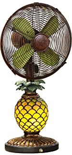 DecoBREEZE Oscillating Table Fan and Tiffany Style Table Lamp, 3 Speed Circulator Fan, 10 In, Pineapple