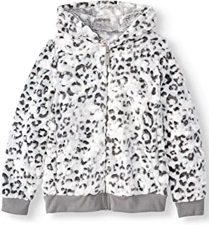 WonderNation Plush Full Zip Jacket with Hood for Little, Big, Plus Girls