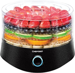 Chefman 5 Round Dehydrator Professional Electric Multi-Tier Food Preserver, Meat or Beef Jerky Maker, Fruit, Herb, Vegetable Dryer, Adjustable & Compact,Stackable BPA-Free Trays, Black