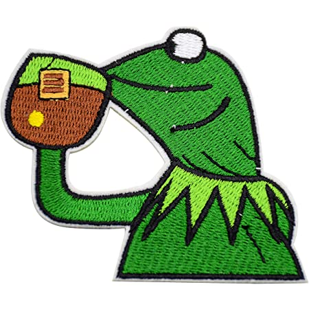 frog kermit Muppets fabric applique iron on hearts 3 inch