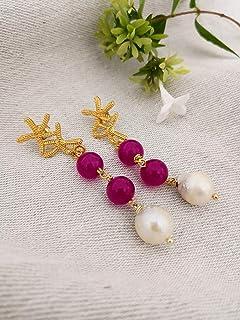 Orecchini Pendenti con Agata Fucsia e Perle Barocche