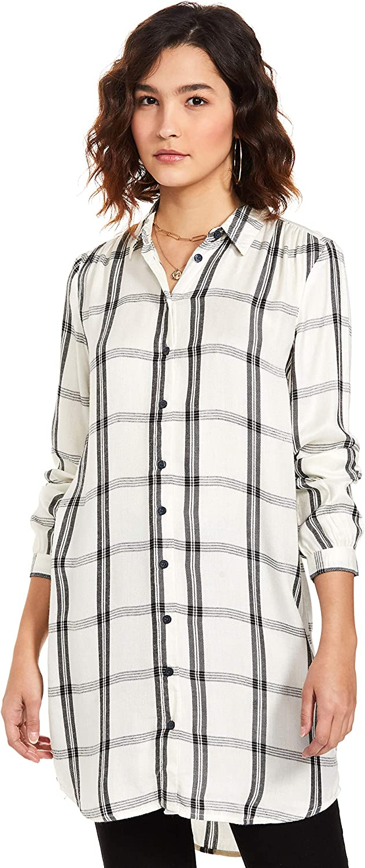 Serene Bohemian Women's Checks Full Sleeve Long Blouse Top Button Down Shirt