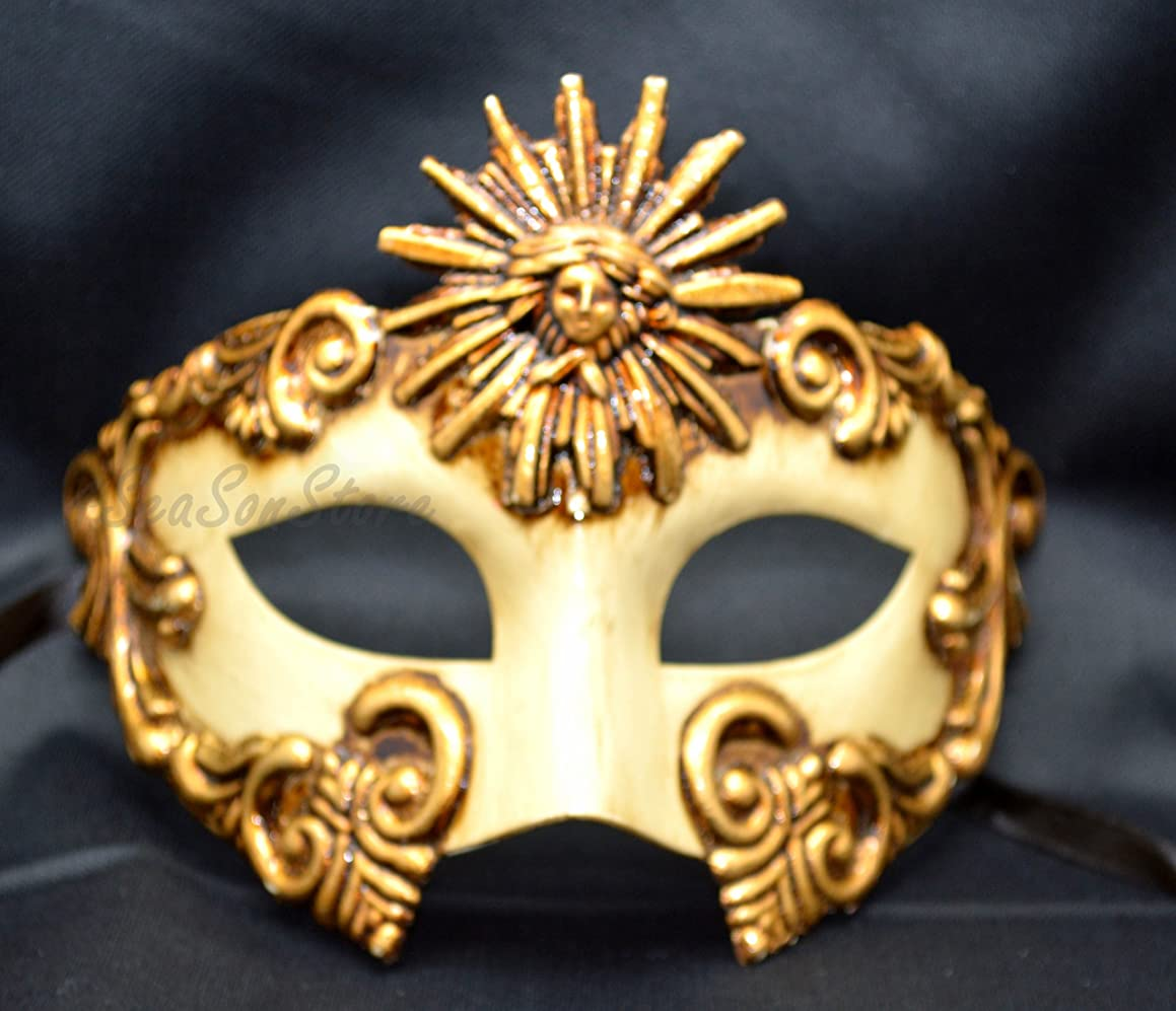 NEW Mens Mythological Special Gold Sun God Greek Style Party Mask Mens Mythological Greek Style Party Mask Mardi Gras Party Halloween Ball Prom by BK