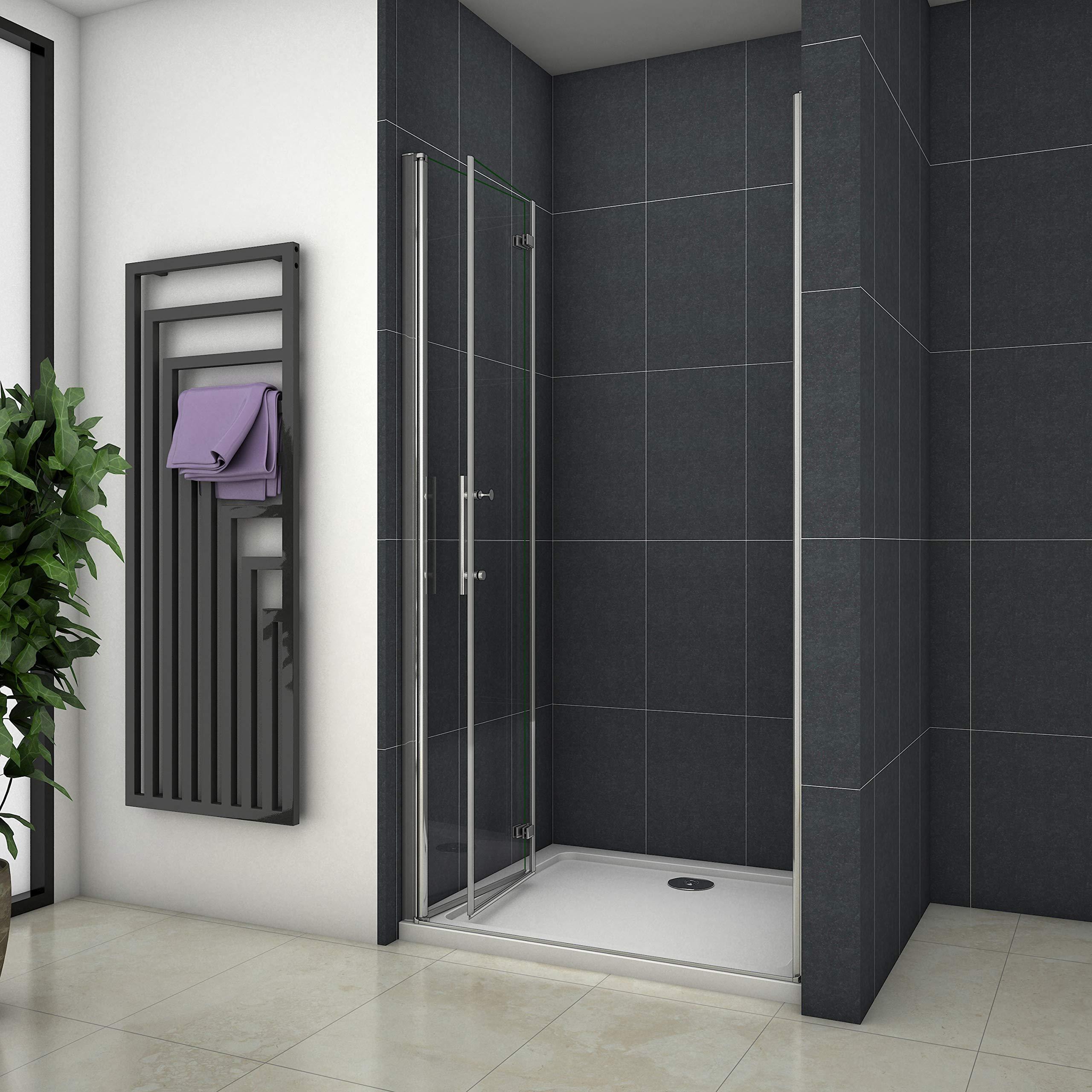 Mampara de ducha Apertura de Puerta Plegable Antical 100x195cm ...
