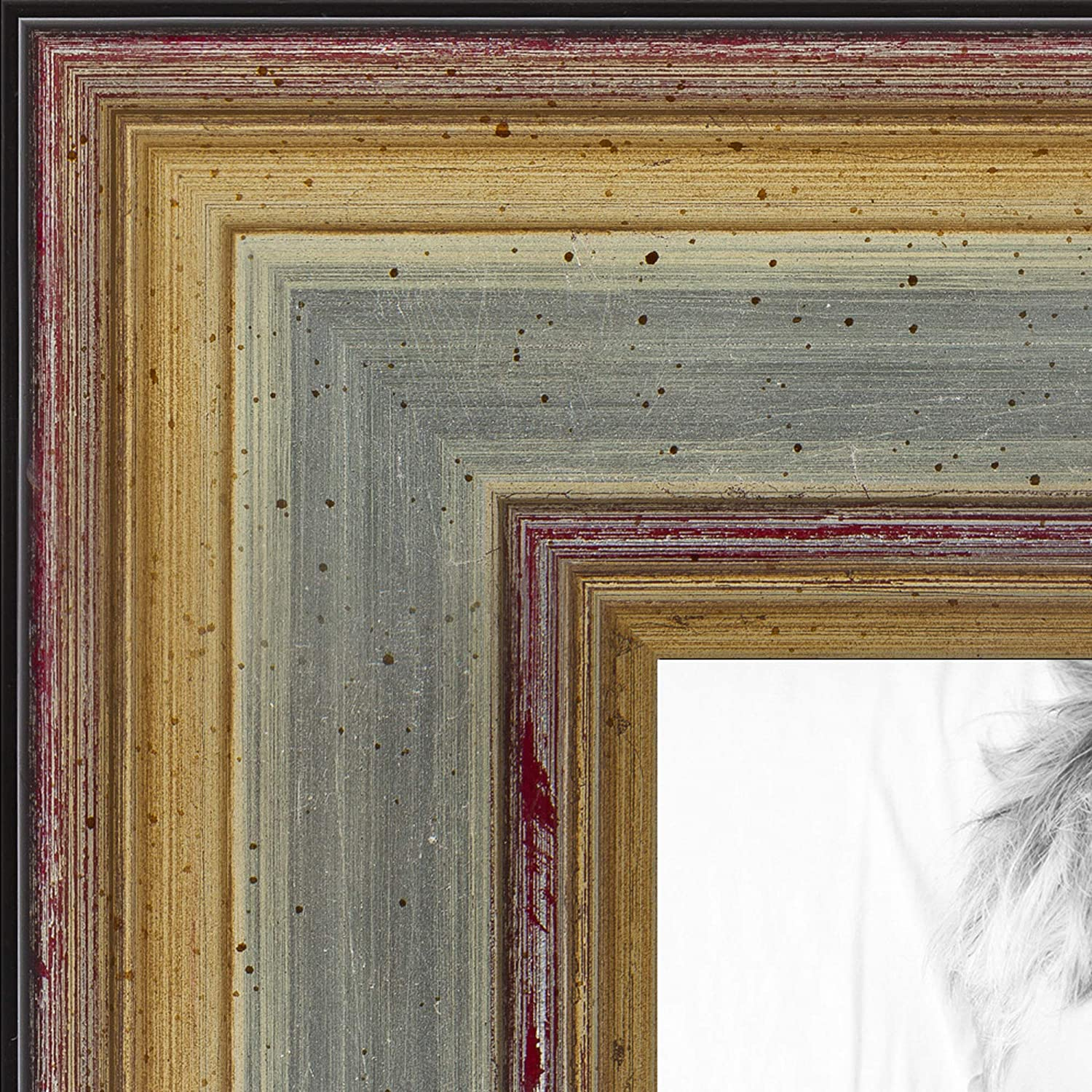 ArtToFrames 14x14 inch Silver Frame with Gold Max Today's only 41% OFF Wood Accents Pictu