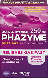 Phazyme Maximum Strength Gas and Bloating Relief    250 mg Simethicone   36 FAST GELS