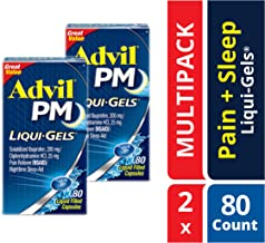 Advil PM Liqui-Gels (Two Pack of 80 Count - 160 Capsules) Pain Reliever/Nighttime Sleep Aid Liquid Filled Capsules, 200mg Ibuprofen, 25mg Diphenhydramine