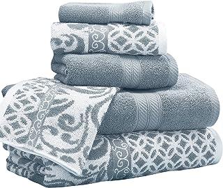 Amrapur Overseas | Trefoil Filigree 6 Piece Reversible Yarn Dyed Jacquard Towel Set (Sterling Blue)