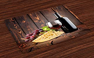 Ambesonne Wine Place Mats Set of 4, Red Wine Cabernet Bottle and Glass Cheese and Grapes on Wood Planks Print, Washable Fabric Placemats for Dining Room Kitchen Table Decor, Burgundy Brown