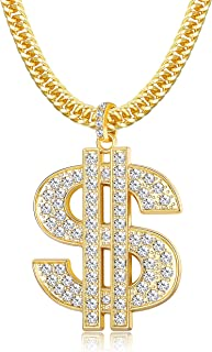 Gold Chain for Men with Dollar Sign Pendant Necklace 18K Gold Plated Hip Hop Punk Style Necklace Chain
