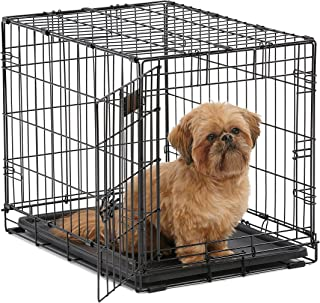 MidWest I Crate 1524-24 Inch Folding Metal Dog Crate w/Divider Panel, Small Dog Breed, Black