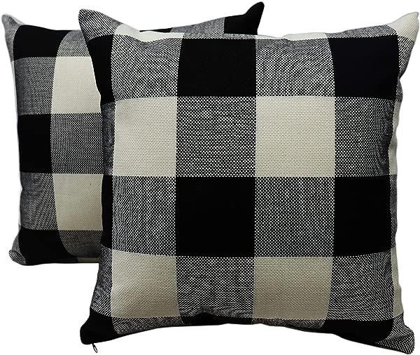 Bridgeso Farmhouse Decorative Checkers Pillowcase Retro Throw Pillow Cover Cushion Case Home D Cor For Couch Sofa 18 X 18 Inches 45 X 45 Cm Set Of 2 Pcs