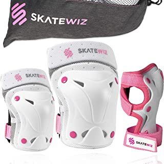 SKATEWIZ Protect-1 Skateboard Accessories Skate [6pcs] Elbow Pads Knee Pads for Women and Men - Elbow and Knee Pads Kids W...