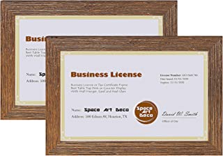 Space Art Deco Set of 2, 5.5x8.5 Gold Textured Frame - for Professional/Business License and Certificate - Self Standing - Desk/Table or Wall - Real Glass (Gold - Set of 2)