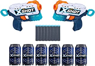 X-Shot Excel Double Kickback Foam Dart Blaster Combo Pack (8 Darts, 6 Cans) by ZURU