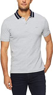 Lacoste Men Slim Fit Heavy Pique Polo W Tipping, Silver Chine/Navy Blue-White