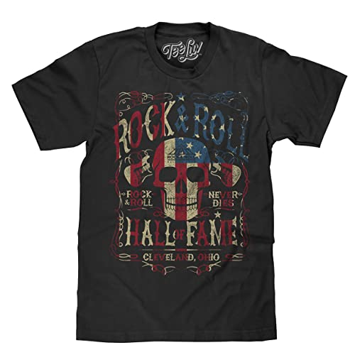 f7244e39c09896 Tee Luv Rock and Roll Hall of Fame T-Shirt - American Flag Skull Shirt