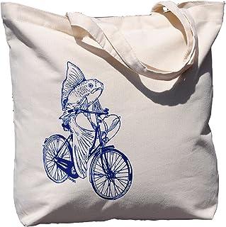 Canvas Tote Bag - Large Beach Bag - Fish on a Bike - Nautical Tote Bags