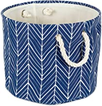 """DII Collapsible Polyester Storage Basket or Bin with Durable Cotton Handles, Home Organizer Solution for Office, Bedroom, Closet, Toys, Laundry(Large Round– 15x16""""), Nautical Blue Herringbone"""