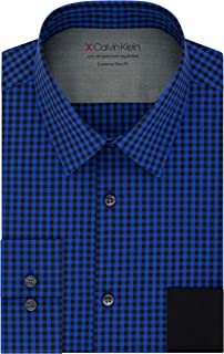 Calvin Klein Men's Dress Shirts Xtreme Slim Fit Check-Thermal Stretch