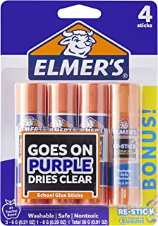 Elmer's Disappearing Purple Glue Sticks with Bonus Re-Stick Glue Stick, 3 + 1 Pack