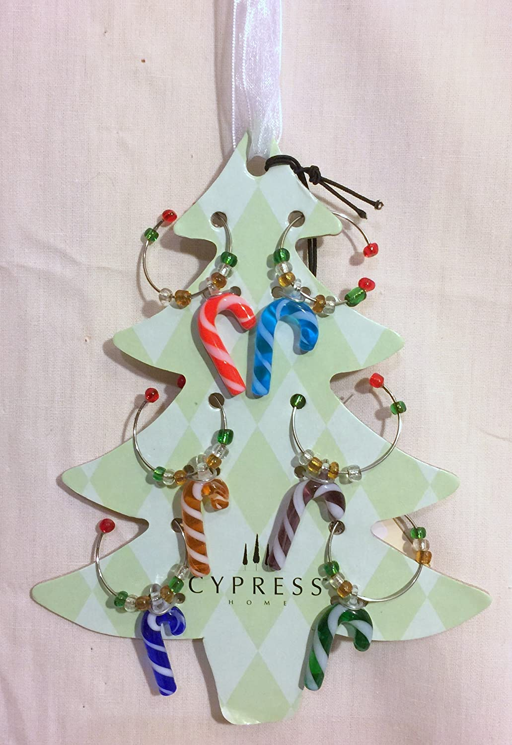 New Holiday Christmas Candy Cane Design item Wine Charms Glass Be super welcome Blown