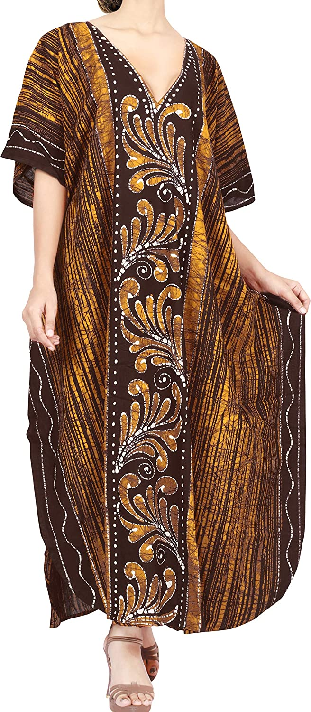 LA LEELA Women Casual Ethnic Embroidery Craft Midi Caftan Dress