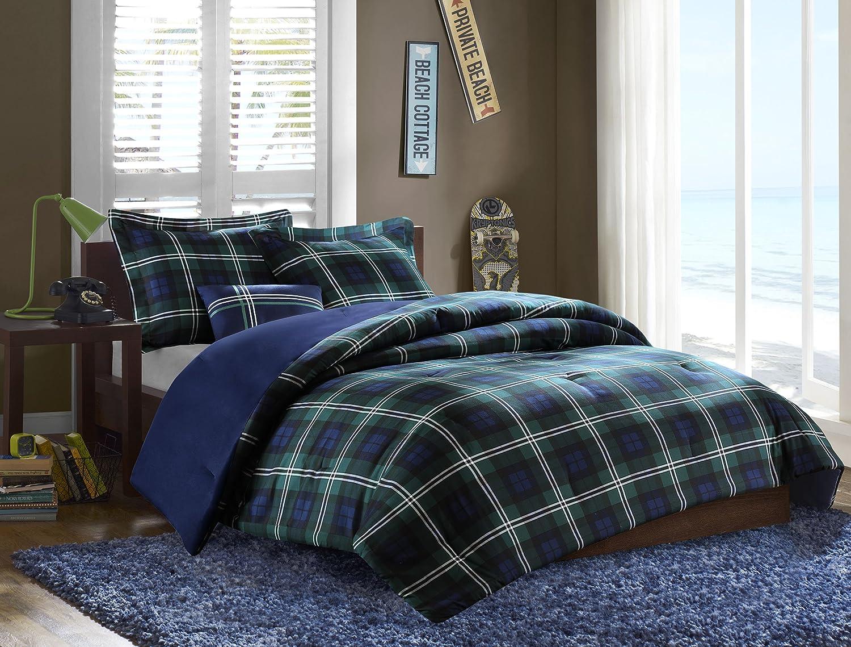 Mizone Brody 3 Piece Printed Microfiber Comforter Set, Twin Twin X-Large, bluee