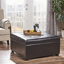 Christopher Knight Home Patsy Espresso Tufted Leather Storage Ottoman