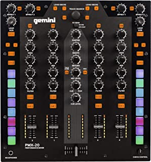Gemini PMX-10 2 Channel Mixer All Metal Professionl DJ Controller with RGB Performance Pads, MIDI and Innofader Ready Crossfader