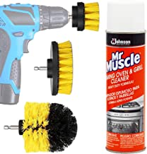 Oven Cleaner kit: Mr Muscle Professional Stove And Grill Cleaner Heavy Duty Spray For Gas Range Grate, Drill Brush Power Scrubber Attachment Set. Scrub Bit Brushes Attachments, Shower Tile Bathtub.