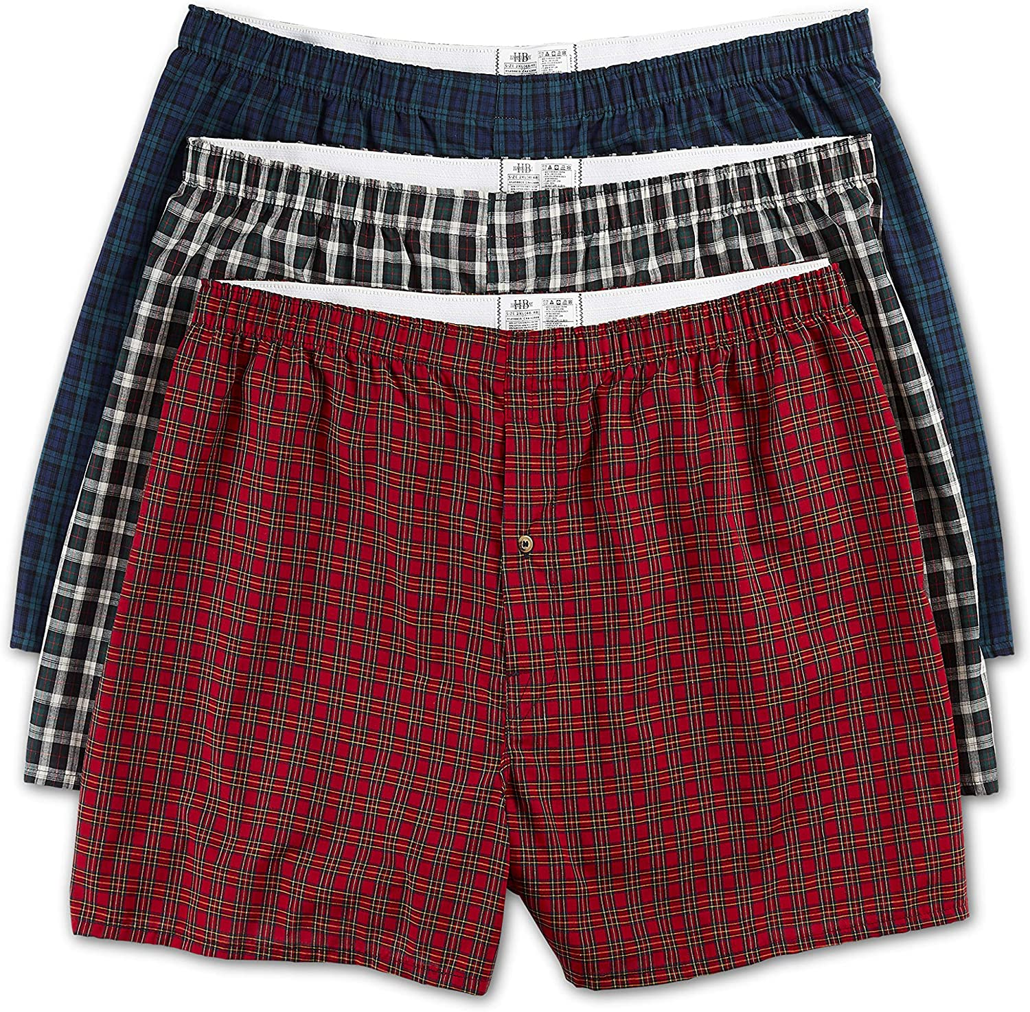 Harbor Bay by DXL Big and Tall 3-Pack Tartan Plaid Woven