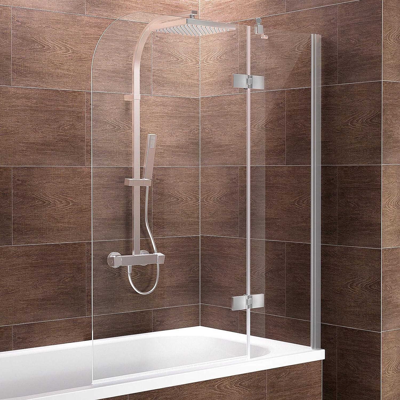 Schulte Duschwand Pendolo, Anschlag rechts, 100x140 cm, 2-teilig mit Festelement, Sicherheitsglas klar 6 mm, Profilfarbe chrom-optik, Duschabtrennung für Badewanne
