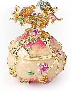 Apropos Rare Hand Printed Vintage Style Love Bird Colorful Rhinestone Jewerly Trinket Box/Faberge Egg