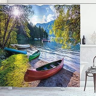 Ambesonne Landscape Shower Curtain, Bohinj Lake with Boats Canoes Triglav National Park Julian Alps Slovenia Print, Cloth Fabric Bathroom Decor Set with Hooks, 70